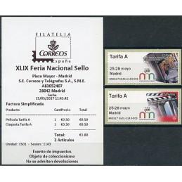 ESPAÑA (2017). 03. XLIX Feria Nacional del Sello - B5ES17 ES01 - ' 25-28 mayo Madrid '. ATMs nuevos (Tarifa A) + recibo
