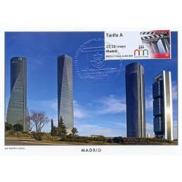 ESPAÑA (2017). 03. XLIX Feria Nacional del Sello - B5ES17 ES01 - ' 25-28 mayo Madrid '. Tarjeta máxima (Cuatro Torres) mat. seco