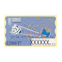 ESPAÑA (1996). 14.1. Globo terrestre y espacio (2 - azul claro). Epelsa PTS-4 CB. Etiqueta ajuste