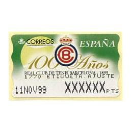 ESPAÑA (1999). 33. 100 Años Real Club de Tenis Barcelona - 1899. Epelsa PTS-4CB. Etiqueta ajuste