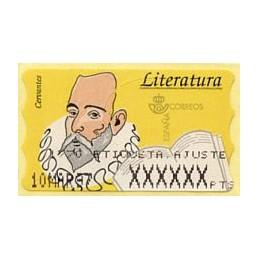 ESPAÑA (1996). 16.2.1. Literatura - Cervantes (Papel fosforescente). PTS-4CB. Etiqueta ajuste