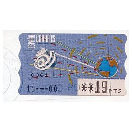 ESPAÑA (1996). 14.1. Globo terrestre y espacio (2 - azul claro). Epelsa PTS-4 CB. ATM usado (19 PTS) - ERROR FECHA 11---00