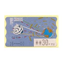 ESPAÑA (1996). 14.1. Globo terrestre y espacio (2 - azul claro). Epelsa PTS-4 CB. ATM nuevo (30 PTS) - ERROR FECHA 16---00