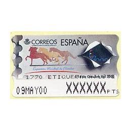 ESPAÑA (1999). 37. Exposición Mundial de Filatelia España 2000. Epelsa PTS 4CB. Etiqueta ajuste