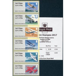 REINO UNIDO (2017). 09. Royal Mail Heritage: Mail by Air - B9GB17 A012 (Autumn Stampex 2017). ATMs nuevos + recibo