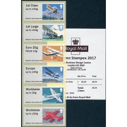 REINO UNIDO (2017). 09. Royal Mail Heritage: Mail by Air - B9GB17 A012 (Autumn Stampex 2017). Serie  6 valores + recibo