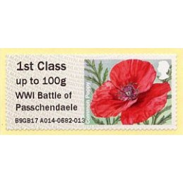 REINO UNIDO (2017). 09. Common Poppy (2015) - B9GB17 A014 - ' WWI Battle of Passchendaele '. ATM nuevo