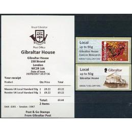GIBRALTAR (2017). Masonería en Gibraltar + Year of the Rooster - B9GB17 GI01 (Gibraltar House). ATMs nuevos + recibo