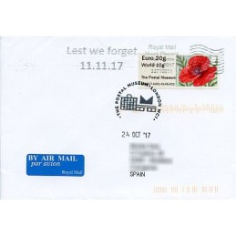 REINO UNIDO (2017). 10. Common Poppy (2015) - BOGB17 A001 - ' The Postal Museum '. Sobre primer día (España)