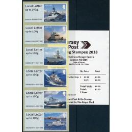 JERSEY (2018). Visiting Naval Vessels (Buques de guerra) - B2GB18 JE01 (Spring Stampex 2018). ATMs nuevos + recibo