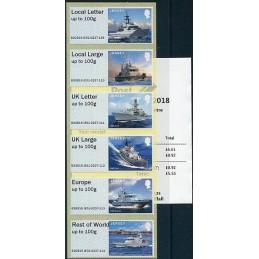 JERSEY (2018). Visiting Naval Vessels (Buques de guerra) - B2GB18 JE01 (Spring Stampex 2018). Serie  6 valores + recibo