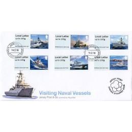JERSEY (2018). Visiting Naval Vessels (Buques de guerra) - B2GB18 JE01 (Spring Stampex 2018). Sobre primer día + recibo