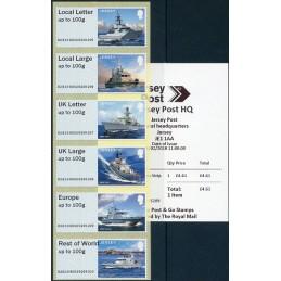 JERSEY (2018). Visiting Naval Vessels (Buques de guerra) - B2JE18 B002. Serie 6 valores + recibo