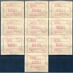 IRLANDA (1992). Emisión Frama (2) -  001 - 010. ATMs nuevos