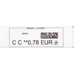 FRANCIA (2018). Emisión básica, papel blanco (2) - Quiosco CALISE. ATM nuevo (CC 0,78 ECOPLI)