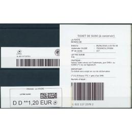 FRANCIA (2018). Emisión básica, papel blanco (2) - Quiosco CALISE. ATM nuevo (DD 1,20 LETTRE SUIVIE)