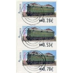 ESPAÑA (2005). 128. Locomotora Estado Serie 1000. Ferrocarril transpirenaico. SERVICIO FILATÉLICO. Tira 3 sellos, matasello