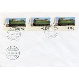 ESPAÑA (2005). 128. Locomotora Estado Serie 1000. Ferrocarril transpirenaico. SERVICIO FILATÉLICO. Sobre primer día (serie)