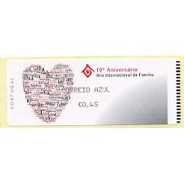 PORTUGAL (2004). 10º Aniversário Ano Internacional da Família - Crouzet NEGRO. ATM nuevo (CORREIO AZUL €0,45)