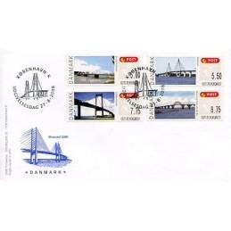 DINAMARCA (2008). Puentes Dinamarca (2.1). Sobre primer día (serie) - Øresund 2000