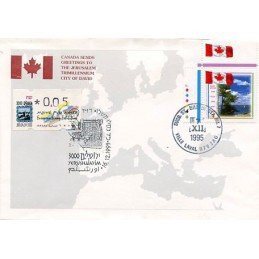 ISRAEL (1995). Jerusalem 3000 - European Stamp Exhibition - 008. Sobre primer día (Canada sends greetings to Jerusalem)