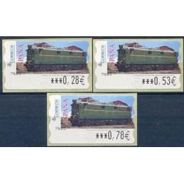 ESPAÑA (2005). 128. Locomotora Estado Serie 1000. Ferrocarril transpirenaico. Epelsa 6E. Serie 3 valores