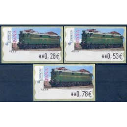 ESPAÑA (2005). 128. Locomotora Estado Serie 1000. Ferrocarril transpirenaico. Epelsa 5E. Serie 3 valores