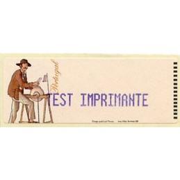 PORTUGAL (1999). O Amolador - AZUL. Etiqueta test (TEST IMPRIMANTE)
