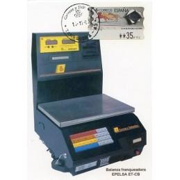 ESPAÑA (1999). 37. Exposición Mundial de Filatelia España 2000. Epelsa PTS 4CB. Tarjeta con ATM (Balanza franqueadora Epelsa)