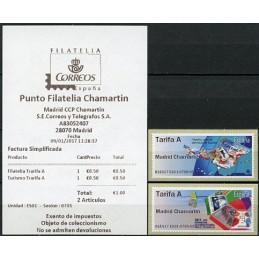 ESPAÑA (2017). 01. Filatelia y Turismo - B1ES17 ES01 - ' Madrid Chamartin '. ATMs nuevos + recibo