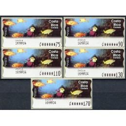 COSTA RICA (2004). Isla del Coco - Epelsa 1. Serie 5 valores (02/2004)