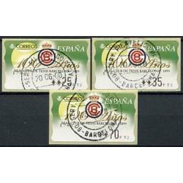 ESPAÑA (1999). 33. 100 Años Real Club de Tenis Barcelona - 1899. Epelsa PTS-4CB. Serie 3 valores, matasello