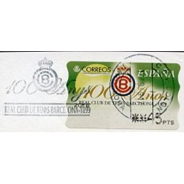 ESPAÑA (1999). 33. 100 Años Real Club de Tenis Barcelona - 1899. MOBBA PTS-4. ATM usado, matasello especial