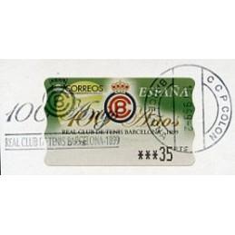 ESPAÑA (1999). 33. 100 Años Real Club de Tenis Barcelona - 1899. Epelsa PTS-5E. ATM usado, matasello