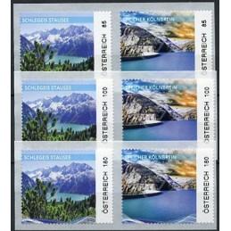 AUSTRIA (2020). Embalses de Austria - Speicher Kölnbrein y Schlegeis Stausee. Serie  6 valores (nacional e internacional)