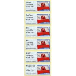 GIBRALTAR (2020). Bandera de Gibraltar - B5GI20 GI04 - ' VE Day 75th '. Serie 6 valores (Collectors strip)