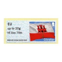 GIBRALTAR (2020). Bandera de Gibraltar - B5GI20 GI04 - ' VE Day 75th '. ATM nuevo (EU)