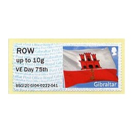 GIBRALTAR (2020). Bandera de Gibraltar - B5GI20 GI04 - ' VE Day 75th '. ATM nuevo (ROW)