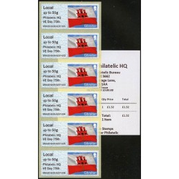 GIBRALTAR (2020). Bandera de Gibraltar - D5GI20 GI05 - ' Philatelic HQ VE Day 75th '. ATMs nuevos (Local strip) + recibo