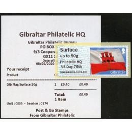 GIBRALTAR (2020). Bandera de Gibraltar - D5GI20 GI05 - ' Philatelic HQ VE Day 75th '. ATM nuevo (Surface) + recibo