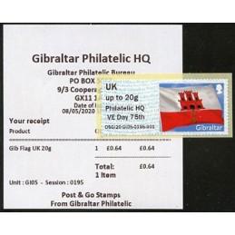 GIBRALTAR (2020). Bandera de Gibraltar - D5GI20 GI05 - ' Philatelic HQ VE Day 75th '. ATM nuevo (UK) + recibo