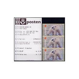 NORUEGA (2006). 1- Oso polar. Serie 3 val. + recibos