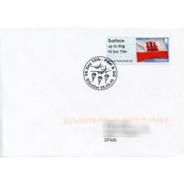 GIBRALTAR (2020). Bandera de Gibraltar - B5GI20 GI04 - ' VE Day 75th '. Sobre primer día (España)