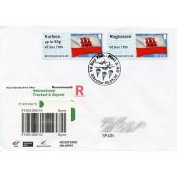 GIBRALTAR (2020). Bandera de Gibraltar - B5GI20 GI04 - ' VE Day 75th '. Sobre primer día (España) CERTIFICADO