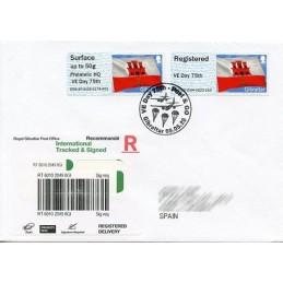 GIBRALTAR (2020). Bandera de Gibraltar - D5GI20 GI04 + GI05 - ' Philatelic HQ VE Day 75th '. Sobre primer día (España) CERTIF.