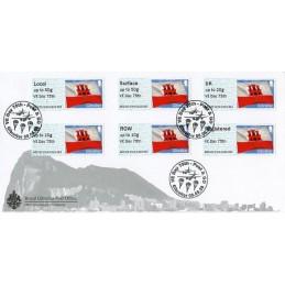 GIBRALTAR (2020). Bandera de Gibraltar - B5GI20 GI04 - ' VE Day 75th '. Sobre primer día (Collectors strip)