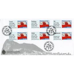 GIBRALTAR (2020). Bandera de Gibraltar - D5GI20 GI05 - ' Philatelic HQ VE Day 75th '. Sobre primer día (Collectors strip) + rec.
