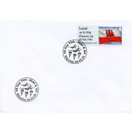 GIBRALTAR (2020). Bandera de Gibraltar - D5GI20 GI05 - ' Philatelic HQ VE Day 75th '. Sobre primer día