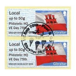 GIBRALTAR (2020). Bandera de Gibraltar - D5GI20 GI05 - ' Philatelic HQ VE Day 75th '. ATMs ( Local), matasello primer día