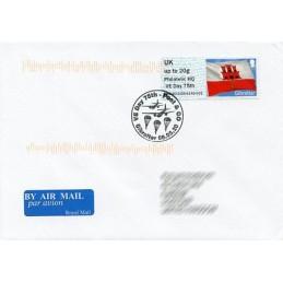 GIBRALTAR (2020). Bandera de Gibraltar - D5GI20 GI05 - ' Philatelic HQ VE Day 75th '. Sobre primer día (Reino Unido) + recibo